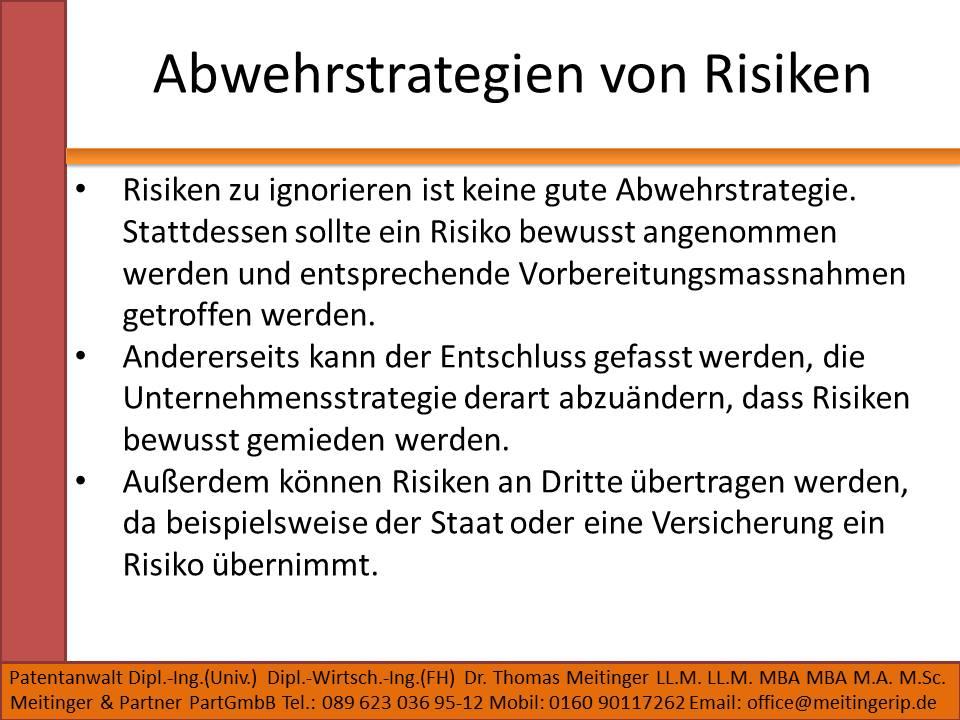Abwehrstrategien von Risiken
