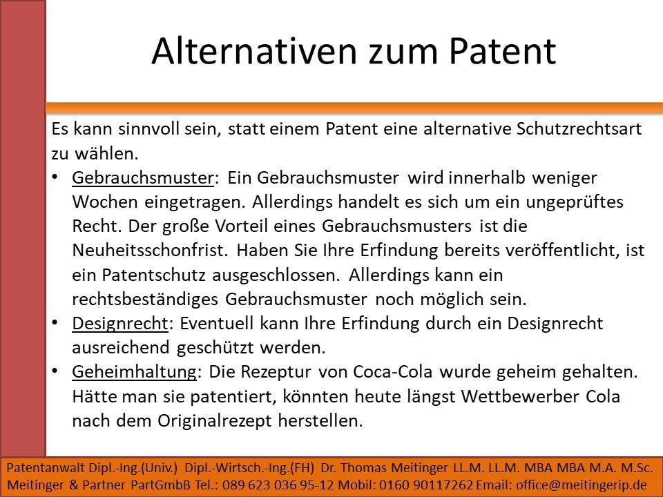 Alternativen zum Patent