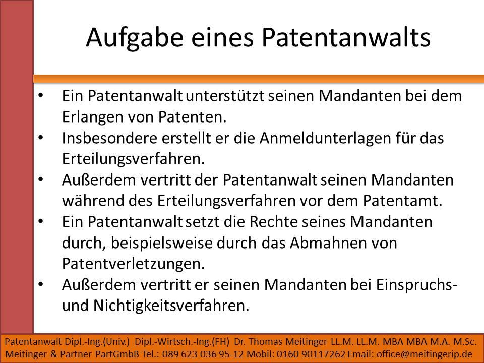 Aufgabe eines Patentanwalts