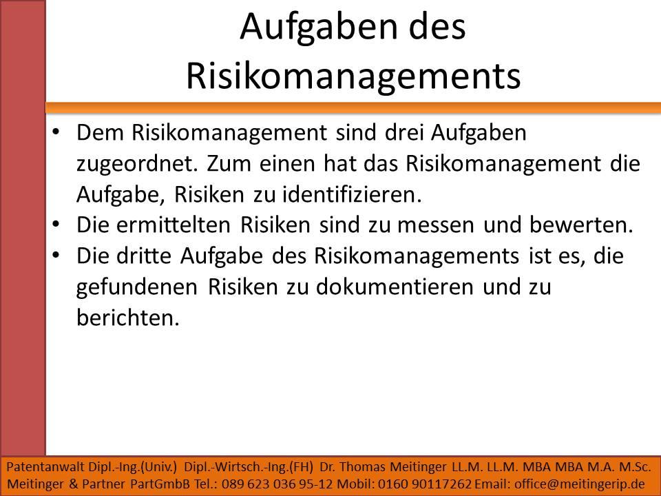 Aufgaben des Risikomanagements