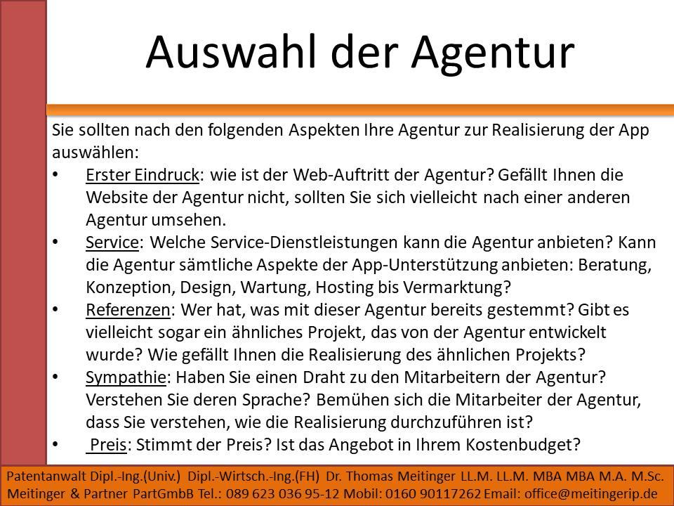 Auswahl der Agentur