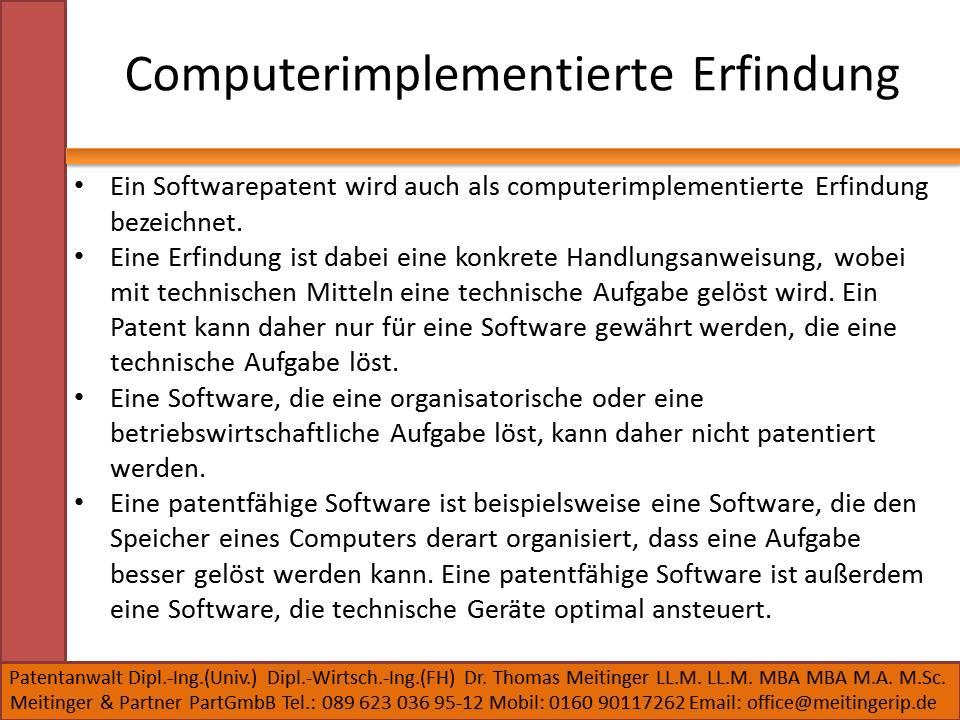 Computerimplementierte Erfindung