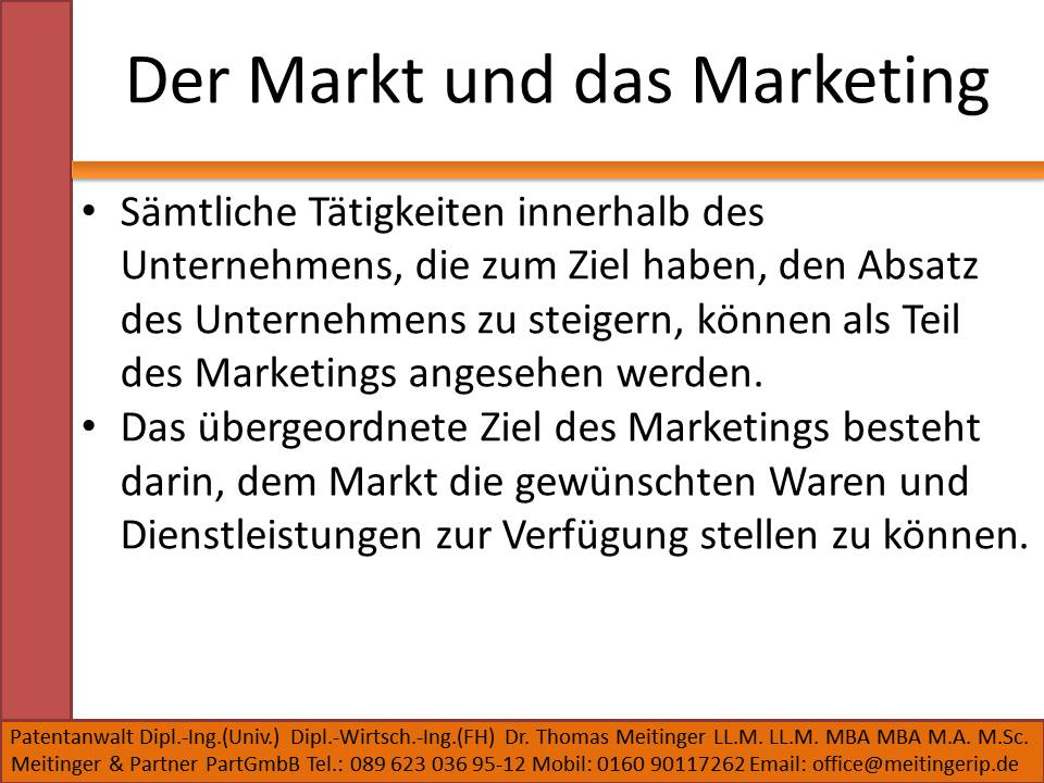 Der Markt und das Marketing