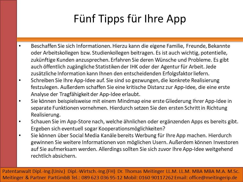Fünf Tipps für Ihre App