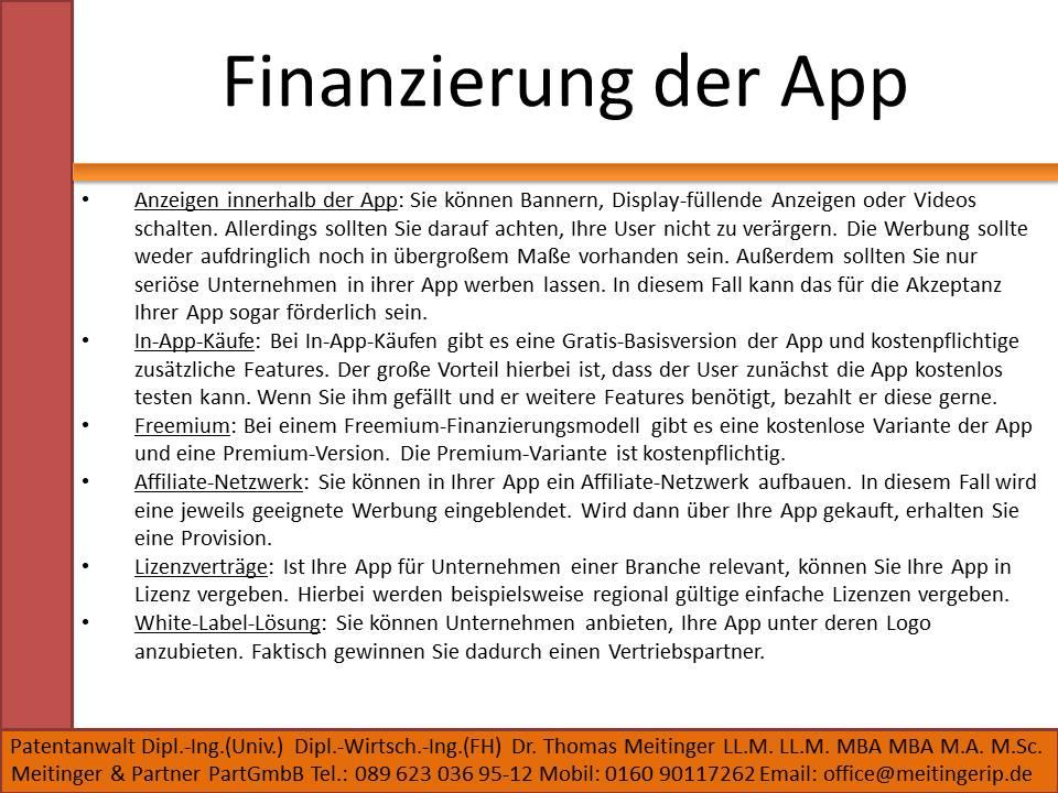 Finanzierung der App