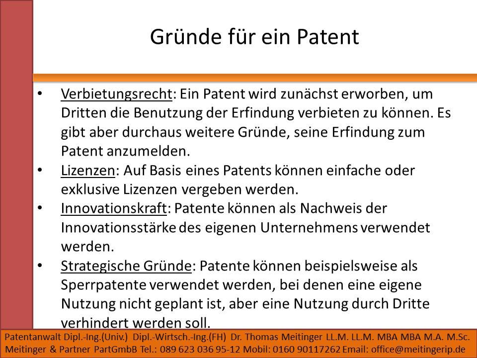 Gründe für ein Patent