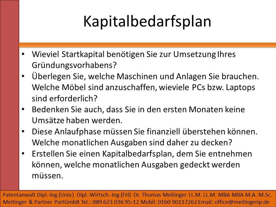 Kapitalbedarfsplan