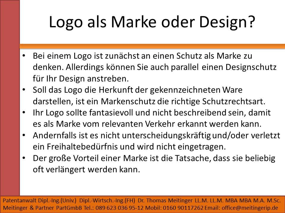 Logo als Marke oder Design