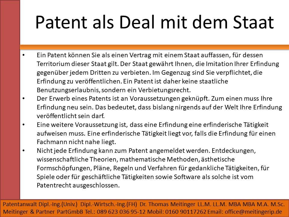Patent als Deal mit dem Staat