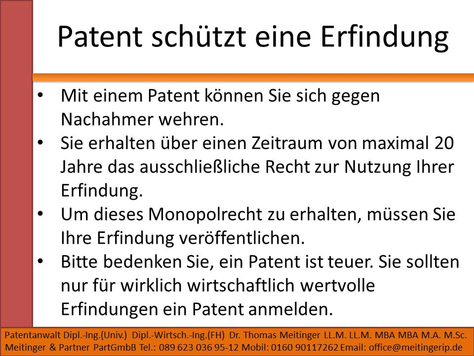 Patent schützt eine Erfindung