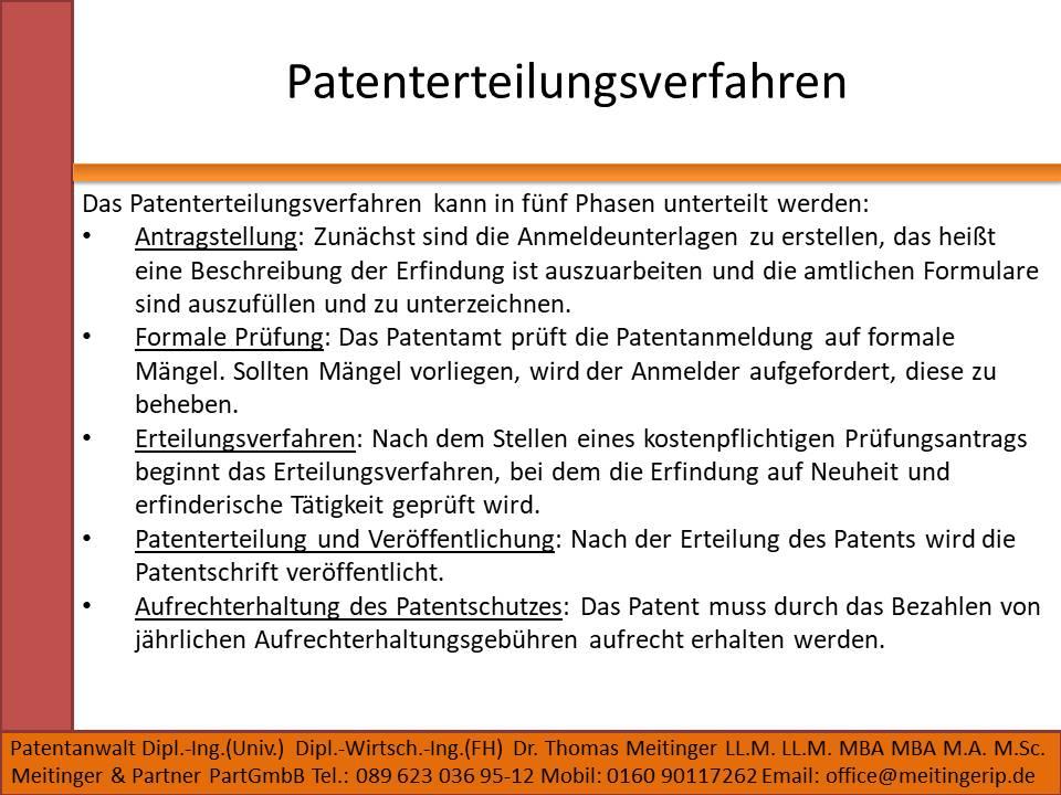 Patenterteilungsverfahren