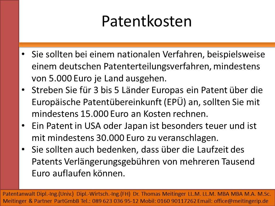 Patentkosten