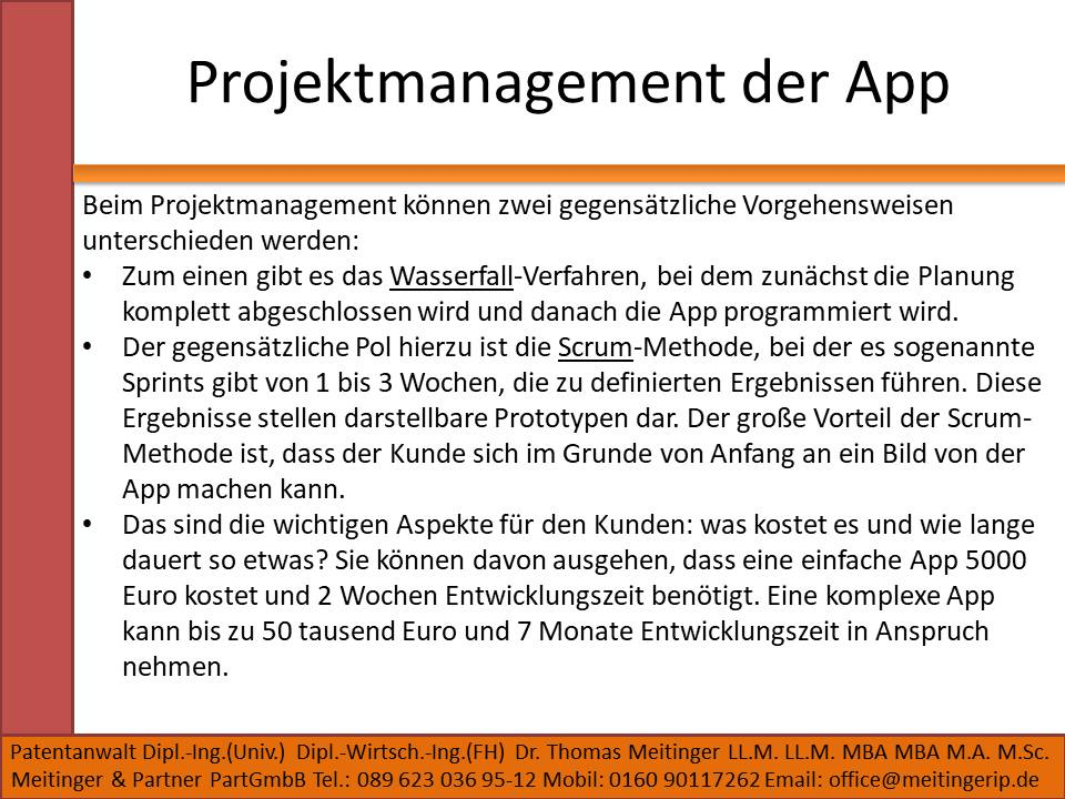Projektmanagement der App