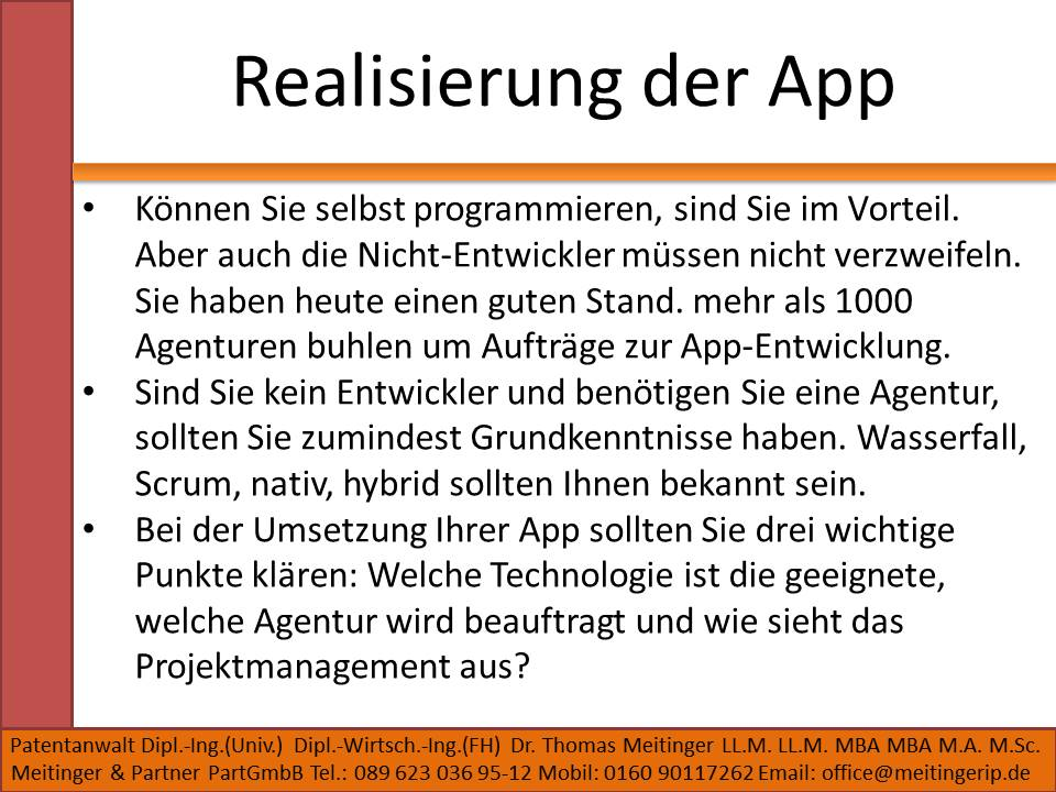 Realisierung der App