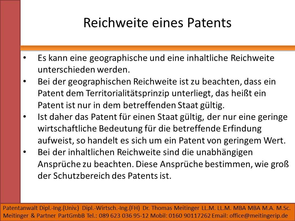 Reichweite eines Patents