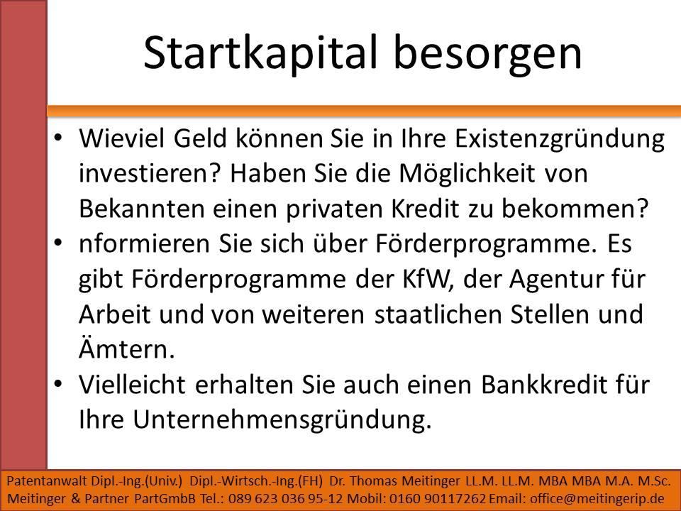 Startkapital besorgen