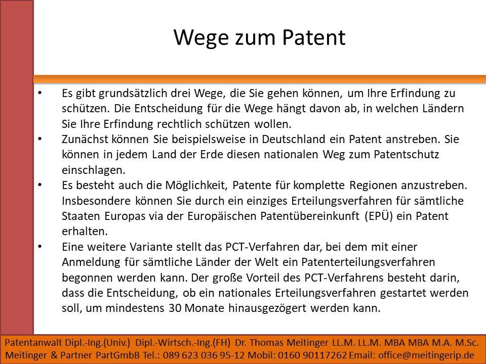 Wege zum Patent