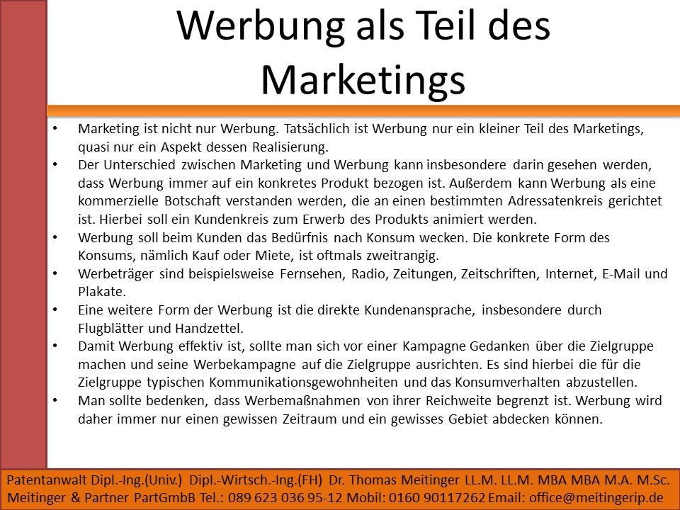 Werbung als Teil des Marketings
