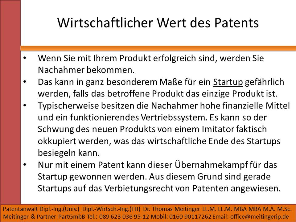 Wirtschaftlicher Wert des Patents