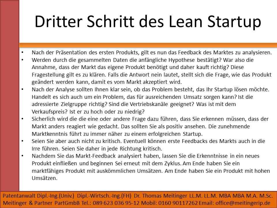 Dritter Schritt des Lean Startup