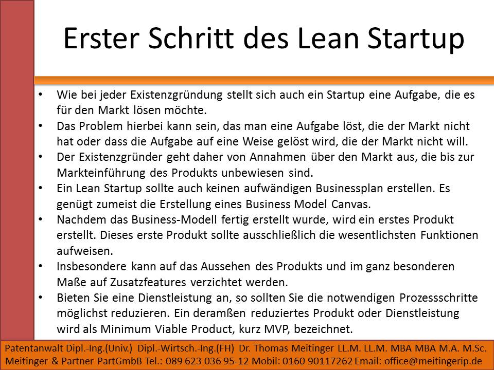 Erster Schritt des Lean Startup