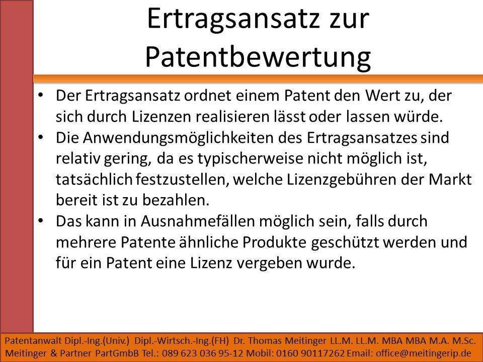 Ertragsansatz zur Patentbewertung