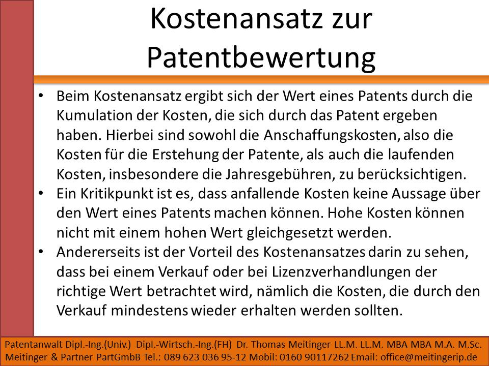 Kostenansatz zur Patentbewertung