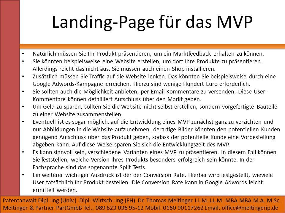 Landing-Page für das MVP