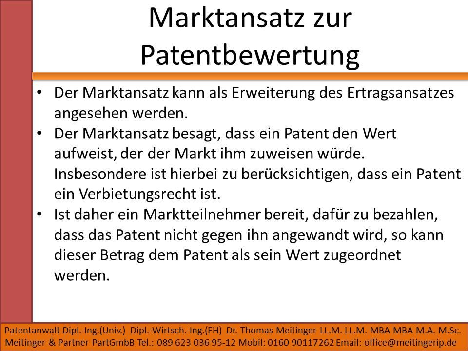 Marktansatz zur Patentbewertung