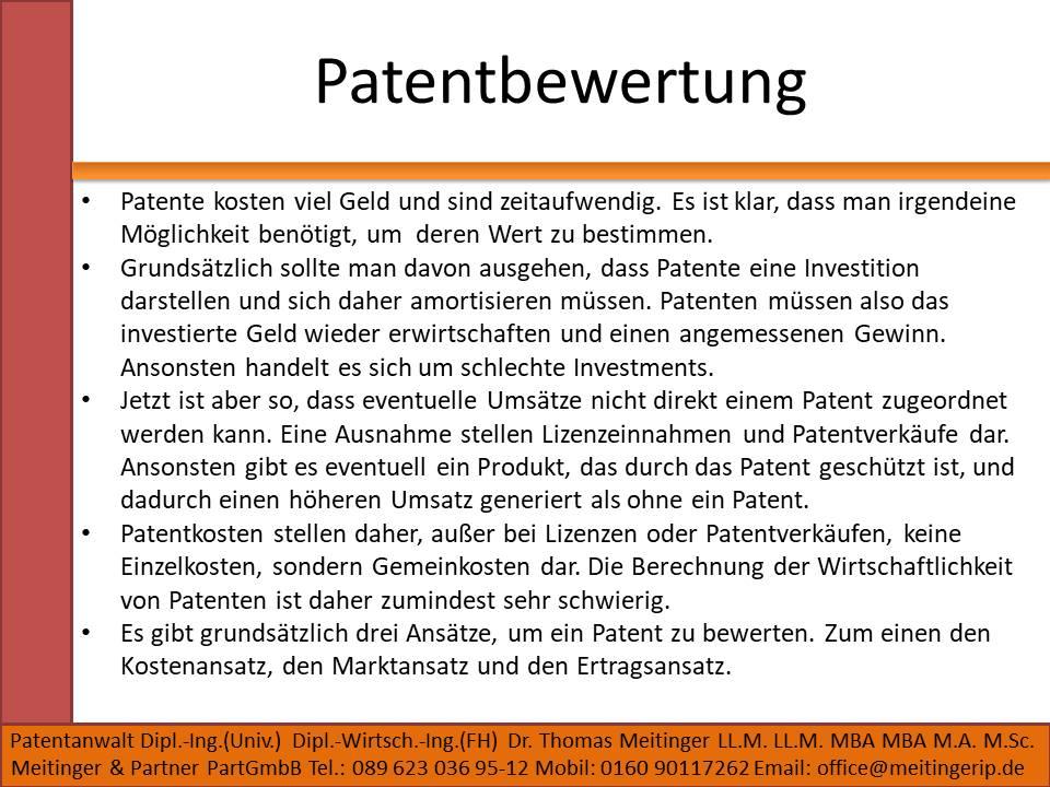 Patentbewertung