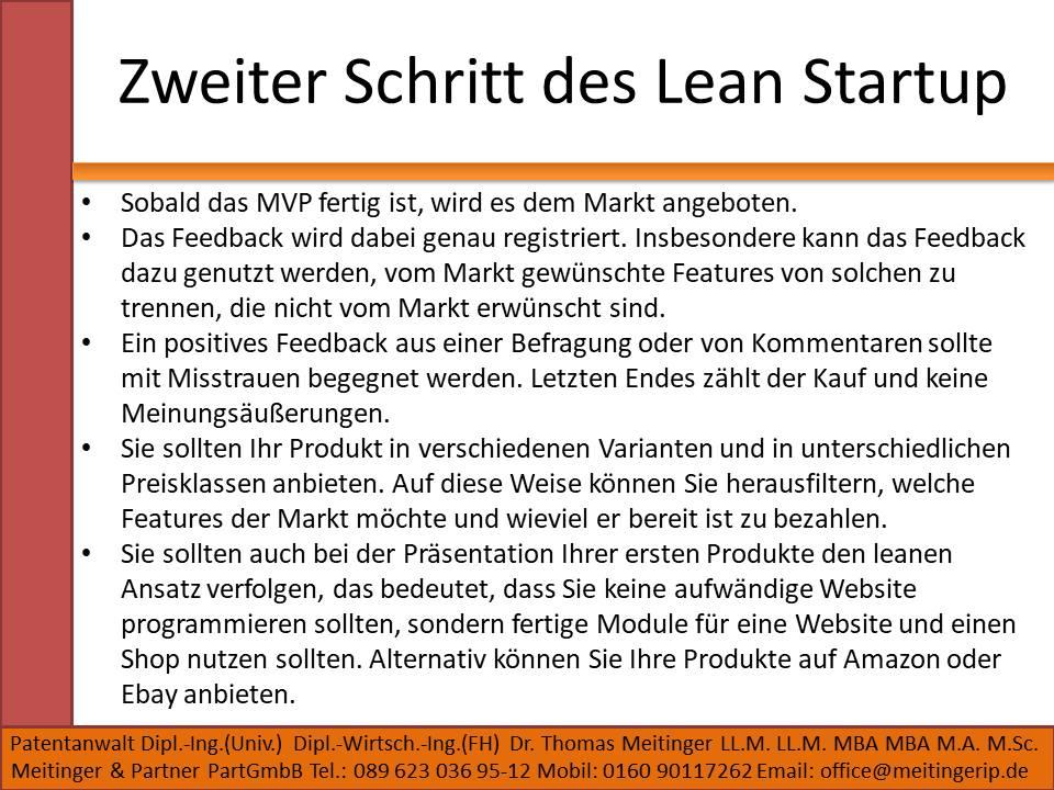 Zweiter Schritt des Lean Startup