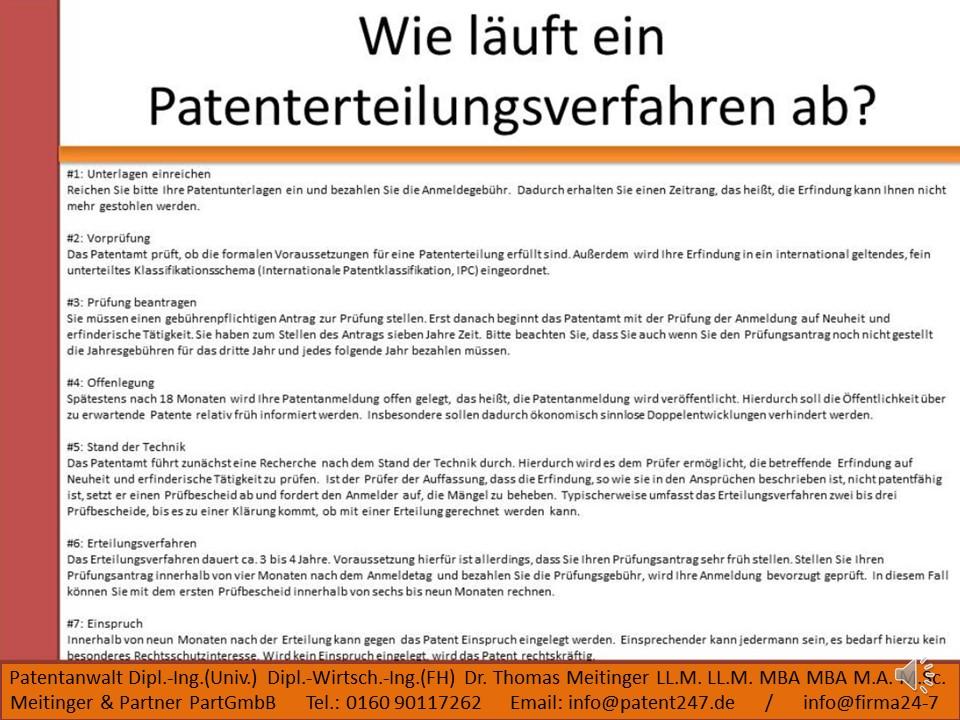 Erteilungsverfahren Patent